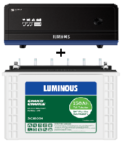 Luminous Combo (SC18054 – 150Ah Tall Tubular Battery + Zelio 1100VA UPS)